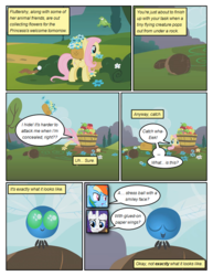 Size: 612x792 | Tagged: artist:newbiespud, basket, bird, bouquet, comic, comic:friendship is dragons, dialogue, edit, edited screencap, eyes closed, female, flower, fluttershy, flying, mare, parasprite, pegasus, pony, rainbow dash, rarity, safe, scared, screencap, screencap comic, smiling, swarm of the century, unicorn