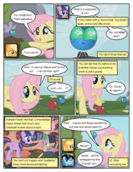 Size: 612x792 | Tagged: applejack, artist:newbiespud, book, comic, comic:friendship is dragons, dialogue, dragon, earth pony, edit, edited screencap, eyes closed, female, flower, fluttershy, golden oaks library, male, mare, parasprite, pegasus, pony, rainbow dash, safe, screencap, screencap comic, slit eyes, smiling, spike, sunglasses, swarm of the century, unicorn