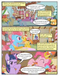 Size: 612x792 | Tagged: amethyst star, applejack, apron, artist:newbiespud, bowtie, candy, candy cane, carrot cake, clothes, comic, comic:friendship is dragons, cup cake, dialogue, earth pony, edit, edited screencap, female, food, goldengrape, linky, male, mare, pinkie pie, pony, rolling pin, safe, screencap, screencap comic, shoeshine, sir colton vines iii, sparkler, stallion, sugarcube corner, swarm of the century, tongue out, twilight sparkle, unicorn, unicorn twilight