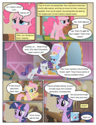 Size: 612x792 | Tagged: safe, artist:newbiespud, edit, edited screencap, screencap, fluttershy, pinkie pie, rainbow dash, rarity, twilight sparkle, parasprite, pony, unicorn, comic:friendship is dragons, swarm of the century, annoyed, comic, dialogue, female, hat, mare, mirror, rainbow dash always dresses in style, screencap comic, unamused, unicorn twilight