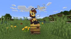 Size: 1561x859 | Tagged: safe, artist:czu, oc, oc only, bee pony, original species, minecraft, monster mare, solo
