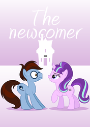 Size: 1102x1559 | Tagged: safe, artist:culu-bluebeaver, starlight glimmer, oc, oc:bluehooves, earth pony, pony, unicorn, comic:the newcomer, comic cover, equal cutie mark, equal town, female, glasses, glimmooves, house, male, mare, s5 starlight, simple background, smiling, stallion, sweat