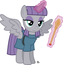 Size: 1501x1545 | Tagged: alicorn, alicornified, artist:anime-equestria, clothes, dress, eyeshadow, female, horn, magic, makeup, mare, maudicorn, maud pie, pony, race swap, rock, safe, smiling, solo, staff, when she smiles, wings