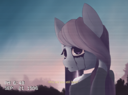 Size: 956x711 | Tagged: safe, artist:owlnon, marble pie, anthro, bust, clothes, dialogue, looking at you, makeup, running makeup, scan lines, solo, subtitles, sweater, three quarter view, timestamp, vhs