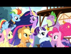 Size: 2048x1536 | Tagged: safe, edit, edited screencap, screencap, applejack, fluttershy, pinkie pie, rainbow dash, rarity, spike, twilight sparkle, alicorn, dragon, earth pony, pegasus, pony, unicorn, the last problem, clothes, crown, female, future, gigachad spike, horseshoes, jewelry, male, mane seven, mane six, mare, older, older spike, princess twilight 2.0, regalia, spoiler, twilight sparkle (alicorn)