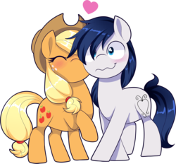 Size: 1861x1725 | Tagged: safe, artist:xwhitedreamsx, applejack, oc, oc:constance everheart, pony, canon x oc, everjack, female, heart, kissing, male, shipping, simple background, straight, transparent background