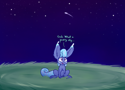 Size: 1280x922 | Tagged: safe, artist:heir-of-rick, oc, oc:sapphire lollipop, pony, female, hidden cane, impossibly large ears, mare, night, night sky, sky, solo