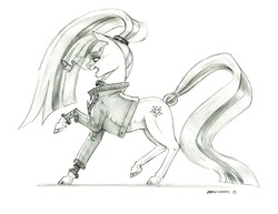Size: 1400x1082   Tagged: safe, artist:baron engel, coloratura, earth pony, pony, the mane attraction, colored hooves, countess coloratura, female, grayscale, mare, monochrome, open mouth, pencil drawing, simple background, solo, traditional art, veil, white background