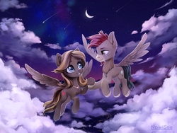 Size: 4000x3000 | Tagged: artist:inowiseei, chest fluff, cloud, commission, female, flying, holding hooves, jewelry, looking at each other, male, moon, necklace, night, oc, oc:caramel breeze, oc only, oc:sentinel strut, oc x oc, pegasus, safe, shipping, shooting star, straight