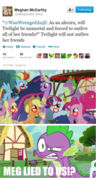 Size: 571x1055 | Tagged: safe, edit, edited screencap, screencap, applejack, fluttershy, pinkie pie, rainbow dash, rarity, spike, twilight sparkle, alicorn, dragon, earth pony, pegasus, unicorn, the last problem, leak, adventure in the comments, aging, angry, crying, debate in the comments, discussion in the comments, drama, end of ponies, gigachad spike, heartbreak, immortality blues, lies, mane seven, mane six, meghan mccarthy, meta, older, older applejack, older fluttershy, older mane seven, older mane six, older pinkie pie, older rainbow dash, older rarity, older spike, older twilight, op has a point, op is a duck, princess twilight 2.0, remembrance, sad, skunk stripe, tear jerker, tears of pain, text, twilight sparkle (alicorn), twilight will not outlive her friends, twilight will outlive her friends, twitter, wall of tags, why, wtf