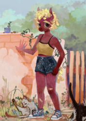 Size: 2480x3508 | Tagged: anthro, anthro oc, artist:wolfiedrawie, bandaid, cat, clothes, converse, denim shorts, female, gate, looking at you, mare, oc, oc:chica, oc only, outdoors, safe, shoes, short hair, shorts, sneakers, standing, three quarter view, top