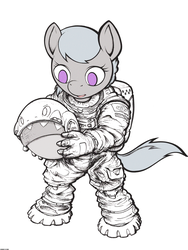 Size: 2400x3200 | Tagged: anthro, artist:darkdoomer, astronaut, helmet, safe, silver spoon, simple background, solo, spacesuit, traditional art, unguligrade anthro