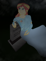 Size: 774x1032 | Tagged: artist:scampy, clothes, dress, duck, equestria girls, fanfic art, fanfic:rise again, grave, gravestone, graveyard, human, safe, sunset shimmer, zombie