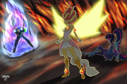 Size: 6001x4000 | Tagged: safe, artist:danmakuman, flash sentry, sci-twi, sunset shimmer, twilight sparkle, human, equestria girls, absurd resolution, arm cannon, armor, artificial wings, augmented, aura, black eye, burning, clothes, commission, crying, crystal guardian, crystal wings, dark samus, daydream shimmer, destruction, disbelief, energy weapon, fear, female, fight, fighting stance, fire, forest fire, imminent fight, intimidating, magic, magic wings, male, metroid, night, on the floor, phazon, ponied up, possessed, sad, sadness, scared, shocked expression, standoff, teary eyes, tree, visor, weapon, wings