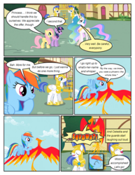 Size: 612x792 | Tagged: safe, artist:newbiespud, edit, edited screencap, screencap, fluttershy, philomena, princess celestia, rainbow dash, twilight sparkle, alicorn, earth pony, pegasus, phoenix, pony, unicorn, comic:friendship is dragons, a bird in the hoof, annoyed, armor, big crown thingy, bird cage, comic, dialogue, exclamation point, eyes closed, female, flying, hoof on chin, hoof shoes, hooves, horn, interrobang, jewelry, laughing, male, mare, open mouth, peytral, question mark, regalia, royal guard, royal guard armor, screencap comic, stallion, unicorn twilight, wings