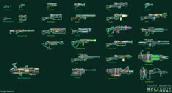 Size: 2970x1600 | Tagged: safe, artist:wangkingfun, fallout equestria, game: fallout equestria: remains, bfg9000, doom, energy weapon, fanfic, fanfic art, flamethrower, game, gun, handgun, laser rifle, magical energy weapon, minigun, no pony, optical sight, pistol, plasma gun, rifle, weapon
