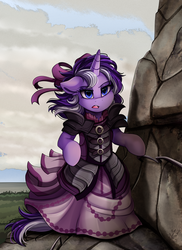 Size: 2550x3509 | Tagged: safe, artist:pridark, oc, oc only, pony, unicorn, armor, bipedal, bow, cliff, clothes, commission, dress, dress armor, female, hair bow, mare, multicolored hair, multicolored tail, open mouth, semi-realistic, semi-realistic armor, solo