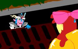 Size: 780x490 | Tagged: safe, artist:smashfan666, derpibooru exclusive, apple bloom, equestria girls, female, it, meme, ms paint, parody, storm drain, sweat drop, tiara ultima