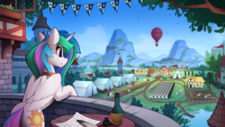 Size: 2520x1420 | Tagged: alcohol, alicorn, artist:yakovlev-vad, background pony, balcony, bird, female, horses doing horse things, hot air balloon, inkwell, mare, mountain, pony, princess celestia, quill pen, safe, scenery, scenery porn, smiling, solo focus, tent, town, wallpaper, window, wine, young celestia
