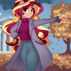 Size: 4000x4000 | Tagged: safe, artist:xjenn9, sunset shimmer, human, equestria girls, autumn, clothes, eared humanization, female, human coloration, jacket, leaves, looking at you, smiling, tree, walking
