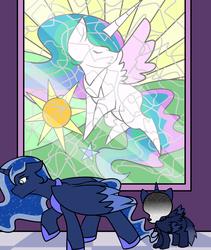 Size: 1600x1900 | Tagged: safe, artist:jolliapplegirl, princess celestia, princess luna, oc, oc:desert moon, alicorn, hybrid, original species, pony, sphinx, female, filly, foal, implied death, interspecies offspring, mare, next generation, offspring, parent:oc:asra, parent:princess luna, parents:canon x oc, stained glass, story included, window