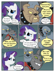 Size: 612x792 | Tagged: artist:newbiespud, clothes, collar, comic, comic:friendship is dragons, dialogue, diamond dog, edit, edited screencap, female, fido, gem, male, mare, pony, rarity, rover, safe, screencap, screencap comic, spiked collar, spot, unicorn, vest