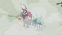 Size: 1920x1080   Tagged: safe, screencap, cozy glow, little strongheart, lord tirek, queen chrysalis, alicorn, buffalo, centaur, changeling, changeling queen, pony, the ending of the end, leak, spoiler:s09e25, alicornified, bow, cloven hooves, colored hooves, cozycorn, female, filly, hair bow, losers club, male, nose piercing, nose ring, piercing, race swap, ultimate chrysalis