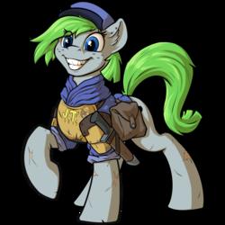 Size: 1000x1000 | Tagged: safe, artist:kalemon, oc, oc:radiant hope, earth pony, pony, cap, clothes, grin, hat, knife, saddle bag, smiling, uniform