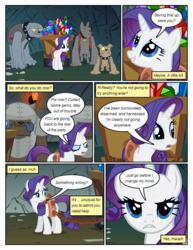 Size: 612x792 | Tagged: artist:newbiespud, clothes, collar, comic, comic:friendship is dragons, crate, dialogue, diamond dog, edit, edited screencap, female, fido, gem, harness, male, mare, pony, rarity, rover, safe, screencap, screencap comic, spiked collar, spot, tack, unicorn, vest, wagon
