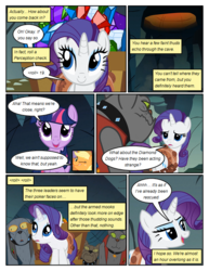Size: 612x792 | Tagged: safe, artist:newbiespud, edit, edited screencap, screencap, applejack, fido, rarity, rover, spot, twilight sparkle, diamond dog, earth pony, pony, unicorn, comic:friendship is dragons, cave, clothes, collar, comic, dialogue, female, freckles, gem, hat, hole, male, mare, one eye closed, screencap comic, spiked collar, unicorn twilight, vest, wagon, wink