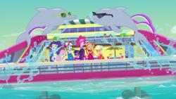 Size: 1920x1080 | Tagged: safe, screencap, applejack, doodle bug, flash sentry, fluttershy, garden grove, ink jet, mile hill, orange sunrise, pinkie pie, rainbow dash, rarity, sci-twi, sunset shimmer, twilight sparkle, valhallen, dolphin, equestria girls, equestria girls series, i'm on a yacht, spoiler:eqg series (season 2), background human, female, geode of telekinesis, humane five, humane seven, humane six, magical geodes, male