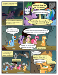 Size: 612x792 | Tagged: safe, artist:newbiespud, edit, edited screencap, screencap, applejack, fluttershy, pinkie pie, rainbow dash, rarity, rover, spike, twilight sparkle, diamond dog, earth pony, pegasus, pony, unicorn, comic:friendship is dragons, ambush, comic, dialogue, freckles, gag, guard, hat, male, mane seven, mane six, riding, rope gag, running, screencap comic, unicorn twilight