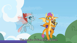Size: 1280x720   Tagged: safe, screencap, ocellus, smolder, changedling, changeling, dragon, the last problem, animation error, claws, dragon wings, dragoness, fangs, female, food, great moments in animation, horns, mug, older, older ocellus, older smolder, sextant, tea, wings