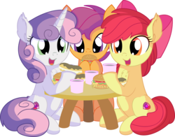 Size: 8070x6342 | Tagged: absurd res, apple bloom, artist:cyanlightning, burger, chest fluff, chocolate, cute, cutie mark, cutie mark crusaders, ear fluff, earth pony, eating, eclair, female, filly, folded wings, food, hair, hay burger, holding, open mouth, pegasus, pony, safe, scootaloo, simple background, sitting, .svg available, sweetie belle, table, the cmc's cutie marks, transparent background, trio, trio female, unicorn, vector, wings