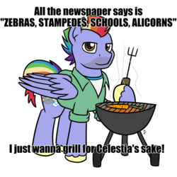 Size: 1080x1080 | Tagged: safe, artist:mkogwheel, bow hothoof, pegasus, pony, boomer, boomer humor, caption, carrot, food, grill, hoof hold, image macro, meme, text, vegetables