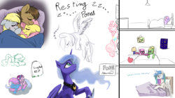 Size: 1920x1080 | Tagged: artist needed, safe, artist:cutepencilcase, artist:fluffyxai, artist:huffylime, cheerilee, derpy hooves, fluttershy, pinkie pie, princess celestia, princess luna, rainbow dash, starlight glimmer, trixie, twilight sparkle, zephyr breeze, oc, oc:spirit wind, unnamed oc, tumblr:ask spirit wind, bed, blanket, blushing, cheeribreeze, climbing, cuddling, drawpile disasters, female, gravestone, implications, male, mlpds, pinkie being pinkie, polyamory, shipping, sleeping, smiling, speech, straight, text