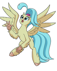 Size: 8000x10000 | Tagged: artist:chedx, fanart, female, hippogriff, my little pony: the movie, princess skystar, safe, simple background, waving