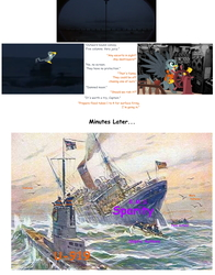 Size: 1800x2300 | Tagged: safe, artist:twiface, gabby, rarity, spike, griffon, dragon dropped, das boot, female, jim miller, josh haber, male, ship, shipping, shipping denied, shitposting, sinking ship, spabby, sparity, straight, submarine, u-boat