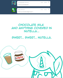 Size: 1024x1256 | Tagged: artist:shadowkixx, ask, ask sunray smiles, chocolate, chocolate milk, female, food, magic, mare, milk, nutella, oc, oc:moonlight aria, pony, safe, solo, tumblr, unicorn