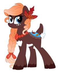 Size: 1110x1337 | Tagged: safe, artist:crystal-tranquility, oc, oc only, deer pony, original species, pond pony, pony, braid, cloven hooves, female, simple background, solo, transparent background