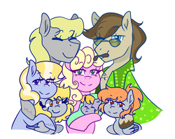 Size: 1280x1020 | Tagged: safe, artist:cubbybatdoodles, derpy hooves, ditzy doo, oc, pony, baby, baby pony, family, father and daughter, female, filly, filly derpy, foal, glasses, male, mother and daughter, siblings, sisters, younger