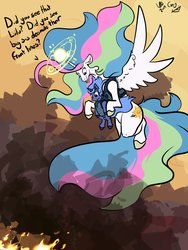 Size: 3072x4096 | Tagged: safe, artist:greyscaleart, princess celestia, princess luna, alicorn, pony, alternate cutie mark, baby carrier, baby talk, constellation freckles, destruction, dialogue, female, filly, fire, flying, foal carrier, glowing horn, gun, halo, horn, magic, mood whiplash, royal sisters, smoke, sun, this will end in ptsd, war, weapon, woona, younger