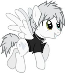 Size: 790x884 | Tagged: artist:lightningbolt, awsten knight, clothes, derpibooru exclusive, dyed mane, dyed tail, flying, heterochromia, jewelry, male, necklace, pegasus, ponified, pony, safe, shirt, simple background, smiling, solo, spread wings, stallion, svg, .svg available, transparent background, t-shirt, vector, waterparks, wings