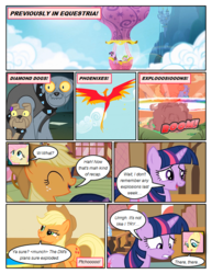 Size: 612x792 | Tagged: safe, artist:newbiespud, edit, edited screencap, screencap, applejack, fluttershy, philomena, rover, spike, spot, twilight sparkle, dragon, earth pony, pegasus, phoenix, pony, unicorn, comic:friendship is dragons, a bird in the hoof, canterlot, comic, cowboy hat, dialogue, explosion, female, freckles, gritted teeth, hat, horn, hot air balloon, male, mare, onomatopoeia, open mouth, screencap comic, transcript in description, unicorn twilight