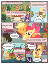 Size: 612x792 | Tagged: apple, apple bloom, applejack, artist:newbiespud, basket, bon bon, bow, carrot top, comic, comic:friendship is dragons, dialogue, doctor whooves, edit, edited screencap, eyes closed, female, filly, fluttershy, flying, food, freckles, golden harvest, hair bow, harness, hat, male, mare, pony, saddle bag, safe, screencap, screencap comic, side hug, smiling, stallion, sweetie drops, tack, time turner, transcript in description, twilight sparkle, unicorn, unicorn twilight