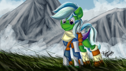 Size: 1920x1080 | Tagged: armor, artist:kranonetwork, bat pony, bat pony oc, clothes, fantasy, grass, light armor, misty, mountain, oc, oc:batcher, oc only, pony, safe, scarf, solo, wallpaper, witcher
