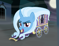Size: 2850x2221   Tagged: safe, artist:badumsquish, derpibooru exclusive, trixie, monster pony, object pony, oboroguruma, original species, pony, youkai, canterlot, cart, curtains, curved horn, dark, dreamworks face, female, fog, frown, full moon, grin, has science gone too far?, horn, looking at you, mare, moon, night, not salmon, open mouth, ponified, prehensile mane, sharp teeth, show accurate, smiling, smug, species swap, spooky, street, teeth, trixie's wagon, wat, what has magic done, window