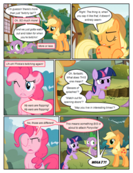 Size: 612x792 | Tagged: safe, artist:newbiespud, edit, edited screencap, screencap, applejack, pinkie pie, spike, twilight sparkle, dragon, earth pony, pony, unicorn, comic:friendship is dragons, annoyed, comic, dialogue, exclamation point, eyes closed, female, freckles, hat, implied fluttershy, interrobang, male, mare, offscreen character, one eye closed, question mark, screencap comic, unicorn twilight, wink