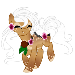 Size: 800x800 | Tagged: safe, artist:crystal-tranquility, oc, oc only, original species, pond pony, pony, coconut, deviantart watermark, eyes closed, female, food, lei, mare, obtrusive watermark, simple background, solo, transparent background, watermark