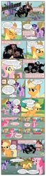 Size: 612x2320 | Tagged: applejack, artist:newbiespud, background pony, background pony audience, berry punch, berryshine, bon bon, building, carrot top, cart, cerberus, cerberus (character), cherry berry, collar, comet tail, comic, comic:friendship is dragons, crowd, daisy, dialogue, dog, dog collar, dragon, earth pony, edit, edited screencap, female, flower wishes, fluttershy, freckles, golden harvest, it's about time, joke shop, linky, male, mare, mochaccino, motion lines, multiple heads, neon lights, onomatopoeia, pegasus, pinkie pie, ponet, pony, ponyville, raised hoof, rare find, rising star, roar, saddle bag, safe, screencap, screencap comic, shoeshine, spike, spiked collar, star bright, sweetie drops, three heads, twilight sparkle, unicorn, unicorn twilight